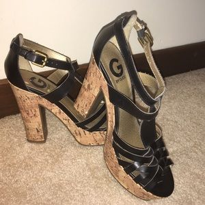 Guess cork wedge strappy sandal heels